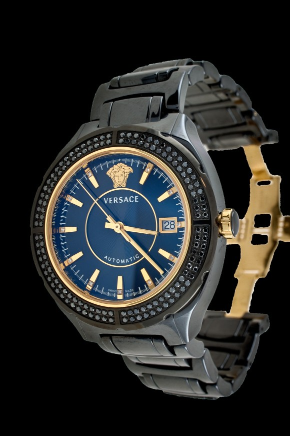 Versace Black w/ Black Diamond Bezel
